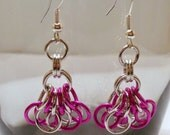 Violet Pink and Silver Fuchsia Earrings