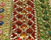 3 yards Bollywood Sari Trim Border combo 3 colors