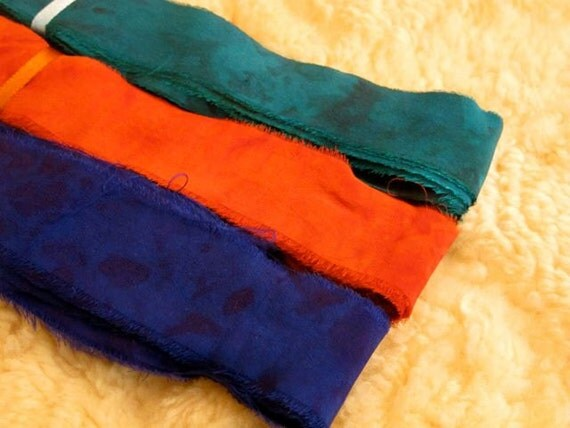 20 yards Hand dyed Silk Ribbon 3 colors, Silk Trim
