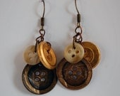 Three Button Drop Earrings.  Three earth tone buttons hang from bronze colored chain to create these unique earrings