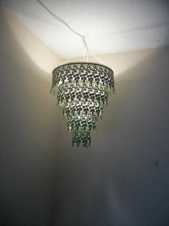 Venise Lace Faux Chandelier Pendant Lamp Shade 'Sage Green''