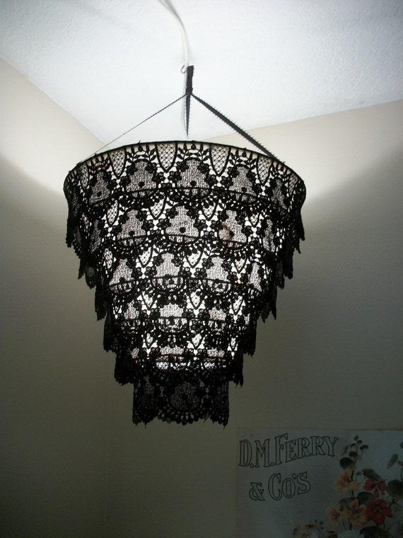 Venise Lace Faux Chandelier Pendant Lamp Shade 'Black'
