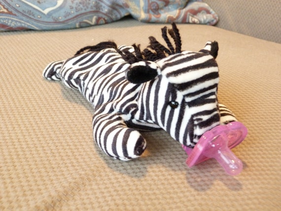 Zebra beanie baby pacifier soothie gumdrop animal - you choose the pacifier