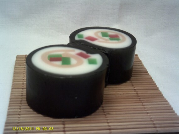 Sushi Roll Soap.  Novelty Soap. Two Piece Set.