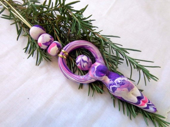 Psychedelic Spring Nile River Goddess Yule Ornament.  Free US Shipping.