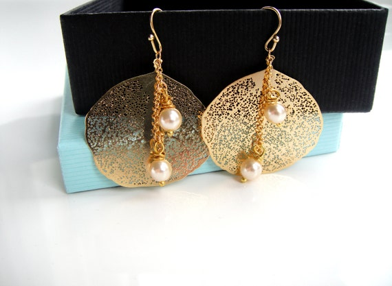Pearl Earrings, Bridal Jewelry, Gold Earrings, Bridal Earrings