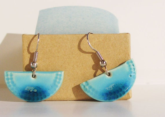 Light blue dangle earrings - handmade ceramic - sky and water impression