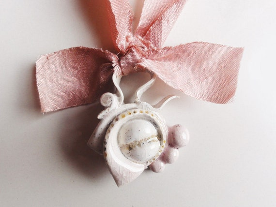 Pink choker necklace shabby chic filigree on rosebud silk bow ribbon - OOAK handmade ceramic
