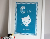 Personalised Childrens/ Baby Artwork - C is for Cat (and child's name)