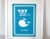 Personalised Childrens/ Baby Artwork - W is for Whale (and child's name)