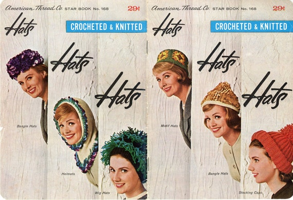 Star Book 168 Hats Hats Hats 1950s Knit & Crochet Patterns American Thread Co Wig Helmet Bangle Womens Vintage Needlework Pattern Book