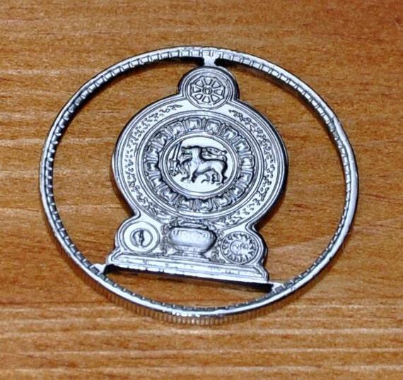 Sri Lanka 2 rupees. Coin cut bag charm.