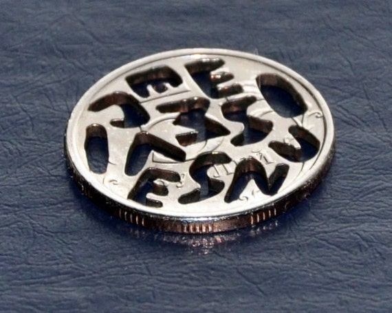 Russian 5 roubles. Coin cut bag charm. Puzzle word.