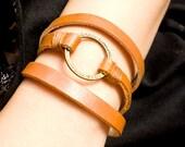 3 circles Orange  Leather Wrap With Copper Circle Charm Bracelet