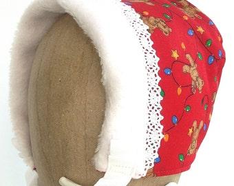 Winter Baby Bonnet - Red Teddy Bears