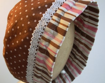 Adjustable Baby Bonnet Brown and Pink / Polka Dot and Stripe