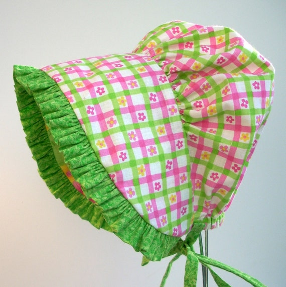 Sun Bonnet Green and Pink Floral Check