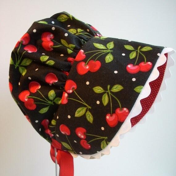 Toddler Girl Bonnet Red Cherries Red Pin Dot