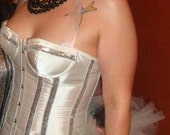 White and Silver Sequin Performance Corset