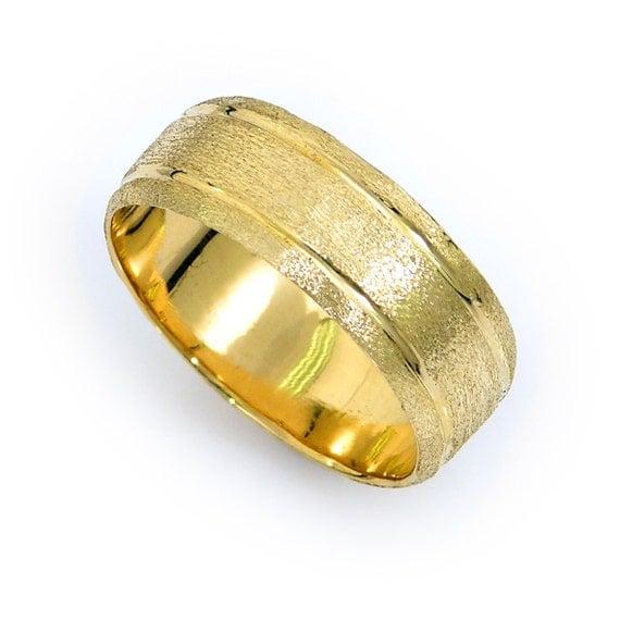 scratched wedding ring 14k gold wedding band mens