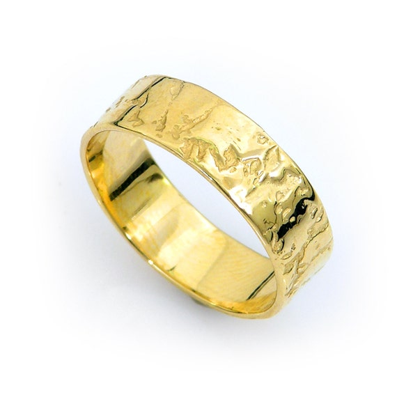 gold wedding ring cracked earth 14k yellow gold by