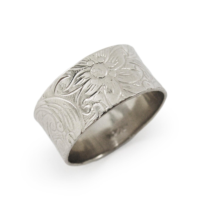 Floral wedding ring White gold wedding ring Wide wedding