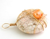 Tibetan White Turquoise and Peach Freshwater Pearl Pendant with gold wire