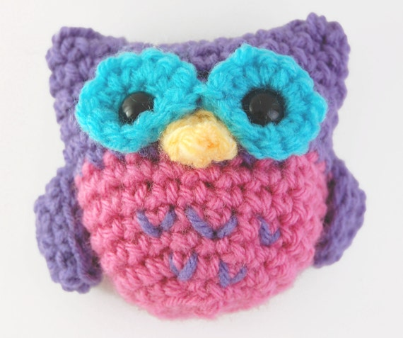 Amigurumi Baby Owl Crochet - Pink and Purple with Turquoise