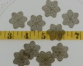 20  flat filagree aged brass spacer beads