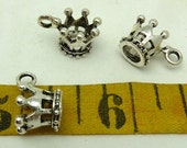 6 crown charms in base metal  antique silver 3/8ths tall by 5/8ths wide including the hanger loop