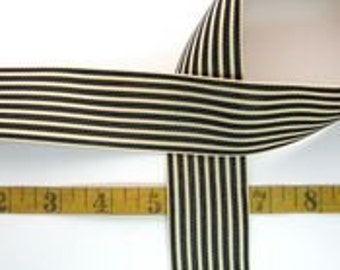 1 yard black and ivory stripped ribbon