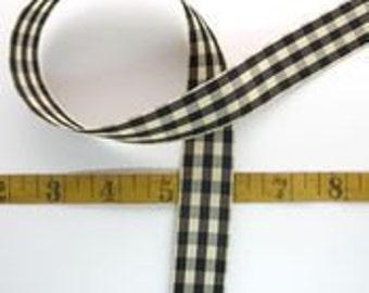 3 yard black and ivory checked ribbon