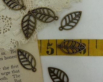 20 -aged brass leaf charms
