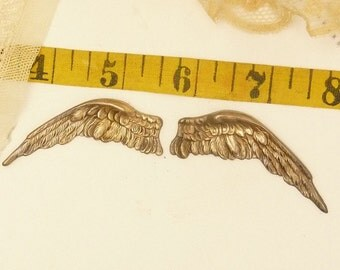 1 pair   brass stamped  wings with vintage patina