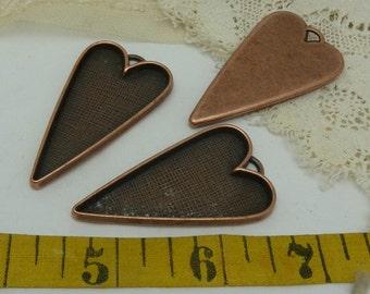 """3 folk heart style aged copper  bezel charms 2 """" long x 1 1/2"""" wide"""