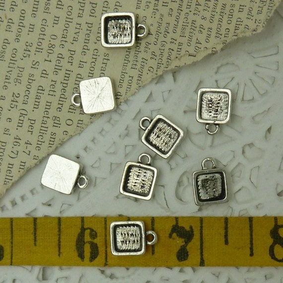 10 tiny square base metal antique / aged silver bezels 9 mm x 9 mm interior 6.5 mm sq.