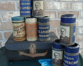 Eight antique Edison Records in Cases with Bonus Gift of Vintage Box