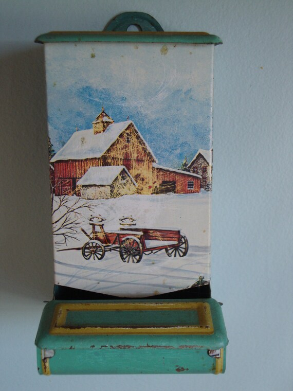 Vintage Tin Match Holder with Beautiful Snowy Farm Scene