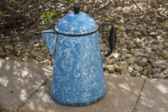 Vintage Blue Swirl Enamelware Coffee Pot