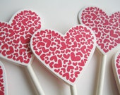 Wedding Heart Cupcake Toppers || Red Heart Cupcake Toppers || Valentine's Day Decorations || Set of 12