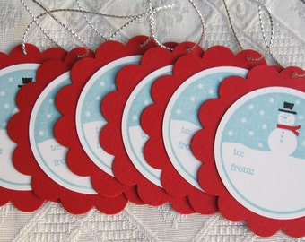 Red and Blue Snowman Gift Tags, Holiday gift Tags, Christmas Gift Tags (set of 6)