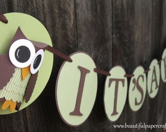 Owl Baby Shower Banner--It's A Boy Owl Banner- Custom Owl NAME Banner - Baby Shower Decorations