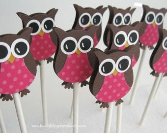 Owl Cupcake Toppers- Owl Baby Shower Decorations- Owl Birthday Party Decor-Set of 12