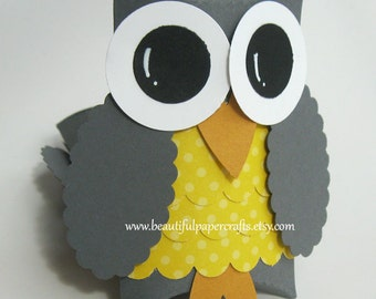 Gray and Yellow Owl Favor Boxes- Owl Baby Shower Decorations-Owl Birthday Party--Set of 12