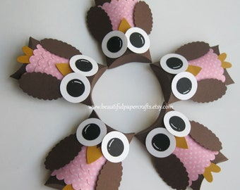 Brown and Pink Owl Favor Boxes- Owl Baby Shower Decorations-Owl Birthday Party..set of 12