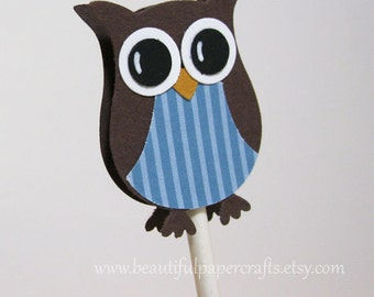 Owl Cupcake Toppers- Owl Baby Shower Decorations..set of 12