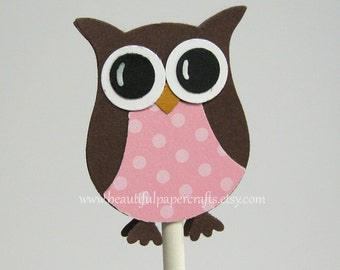 Pink and Brown Owl Cupcake Toppers- Owl Baby Shower Decorations - Owl Birthday Party..set of 12