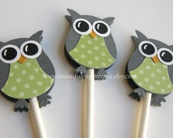 Owl Cupcake Toppers Gray and Green - Owl Baby Shower Decorations--Set of 12