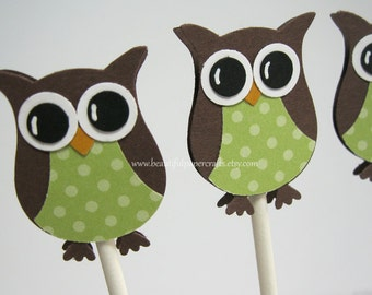 Brown and Green Owl Cupcake Toppers- Owl Baby Shower Decorations--Set of 12