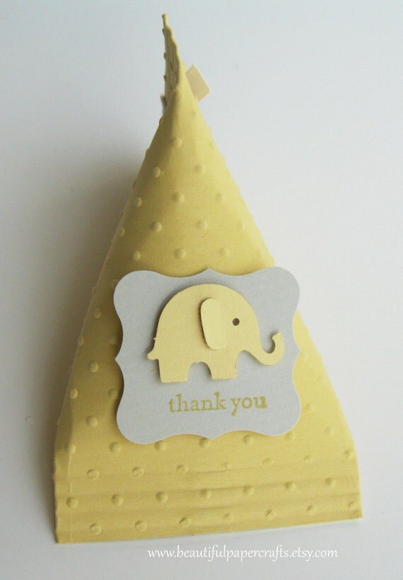Gray and Yellow Elephant Baby Shower Favors - Elephant Birthday Party Favors..set of 12